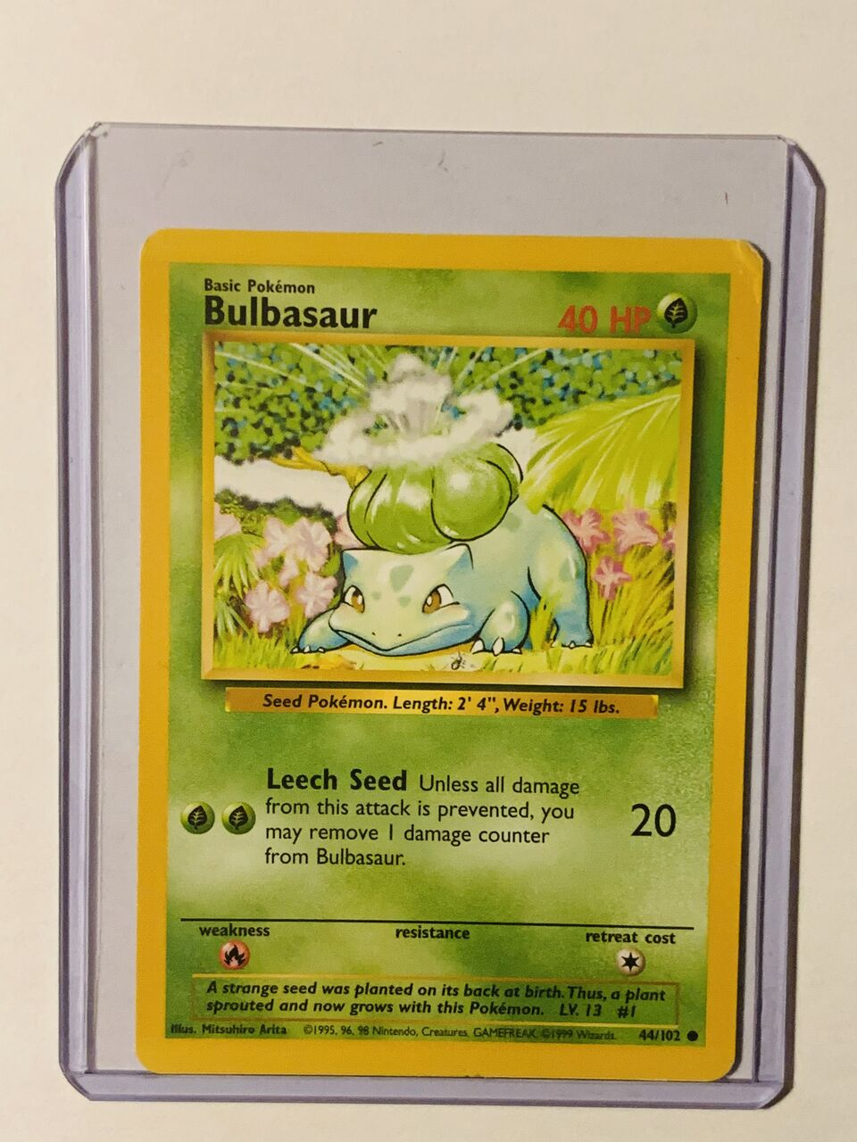 Authentic 1 Owner Mint! Bulbasaur Error Shadowless #44//102 Pokemon Card