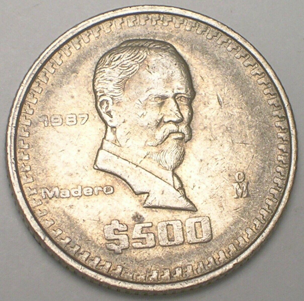 "1987 MEXICO $500 PESOS vintage /""Madero/"" coin BU UNC"