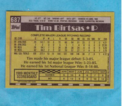 1990 Topps Baseball Card #687 Tim Birtsas Reds - Image 2