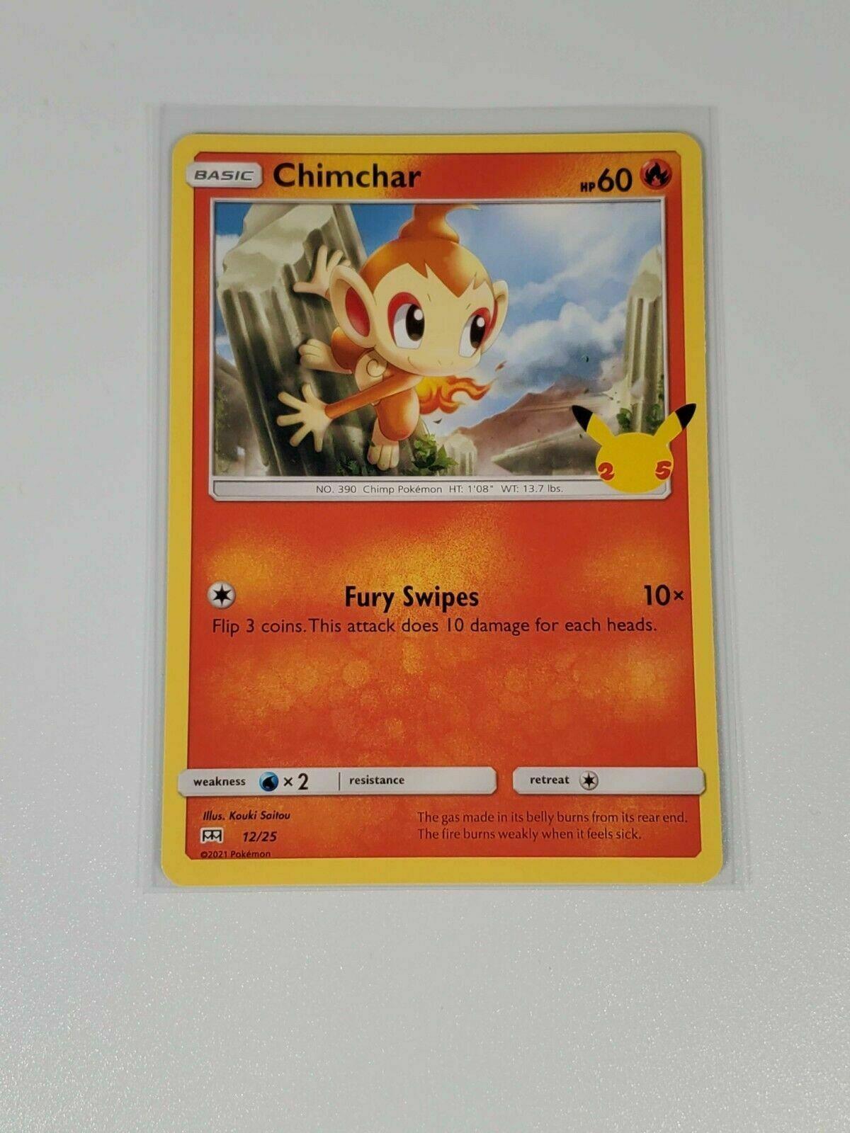 Pokemon TCG Chimchar 12/25 NON HOLO McDonald's 2021 Promo 25th Anniversary NM