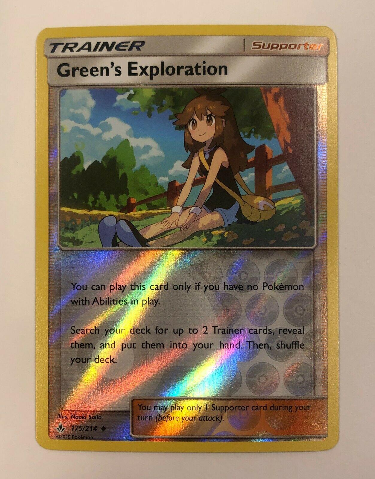 4x Pokemon TCG S/&M Unbroken Bonds Green/'s Exploration 175//214 Non-Holo