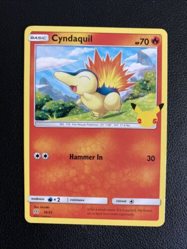 Pokemon CYNDAQUIL 25th Anniversary McDonald's 10/25 NON-HOLO Promo Card 2021