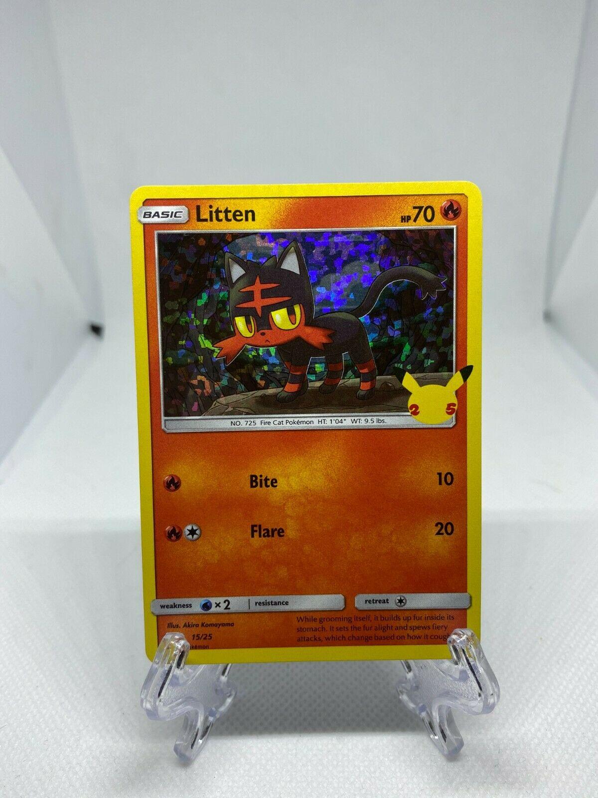 Pokemon - McDonald's 25th Anniversary Promo Litten HOLO 15/25 2021