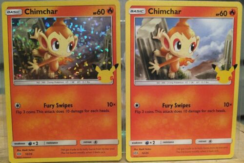 Chimchar 12/25 Holo and Non Holo 25th Anniversary McDonald's Promo Pokemon Cards