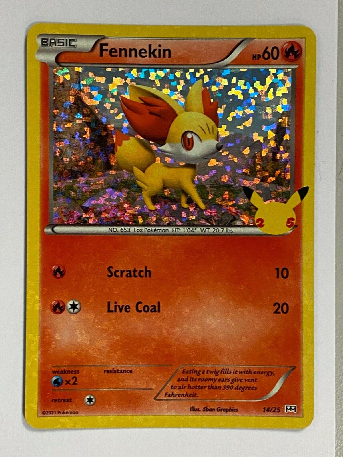 HOLO Fennekin 14/25 Pokemon McDonald's 25th Anniversary Cards