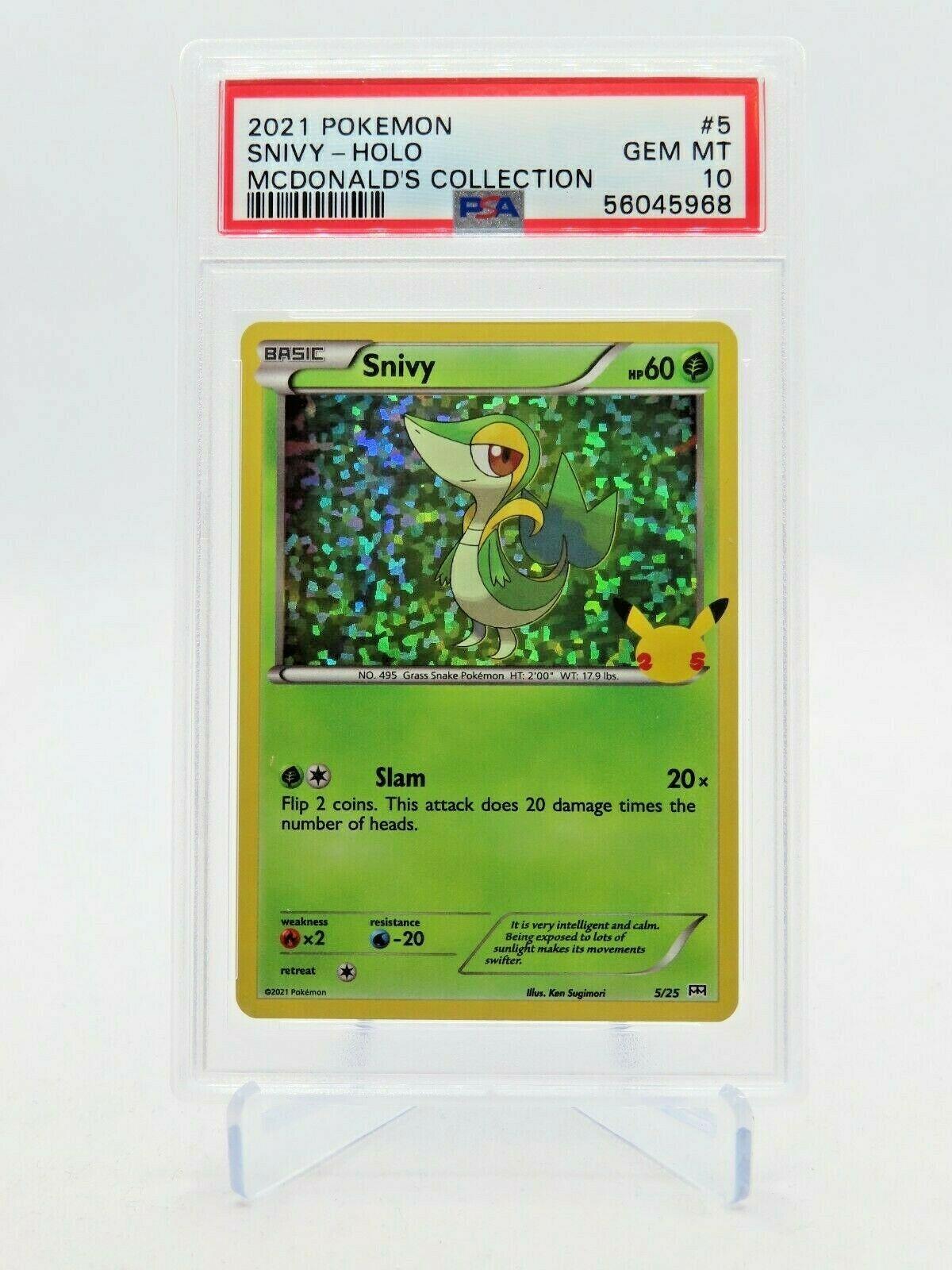 2021 Pokemon McDonald's 25th Anniversary Snivy 5/25 Holo GEM MINT PSA 10