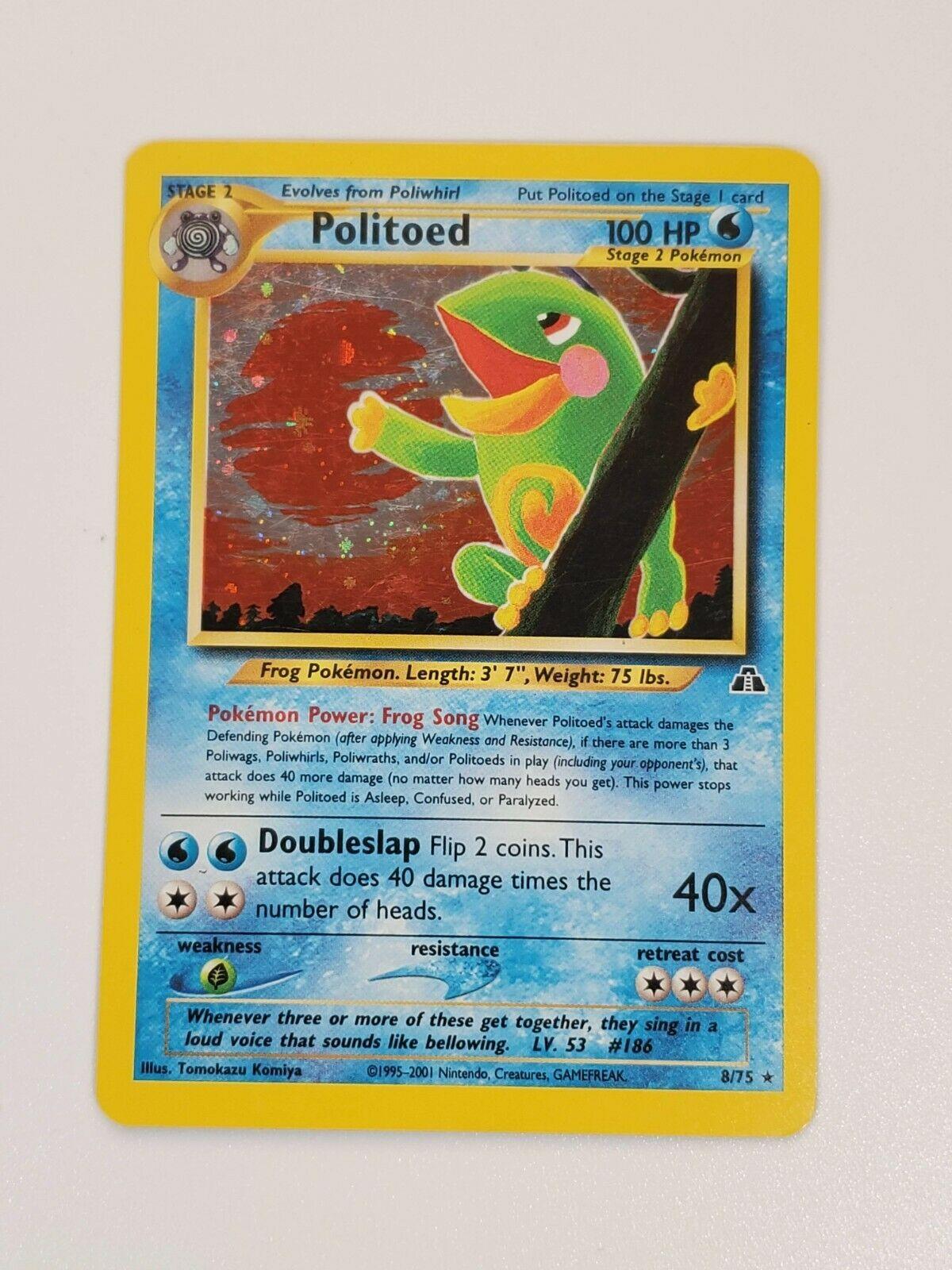 Pokemon Card: POLITOED - #8/75 Neo Discovery - Holo Rare - LP - Image 1