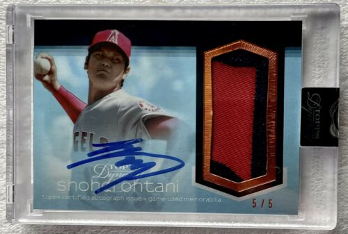 2018 Topps Dynasty SHOHEI OHTANI RC ROOKIE JMBO PATCH AUTO SP 5/5 1/1 Mike Trout - Image 1