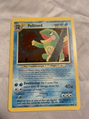 Pokemon 2001 Neo Discovery POLITOED Holo 8/75  - VERY LIGHTLY PLAYED  - Image 1