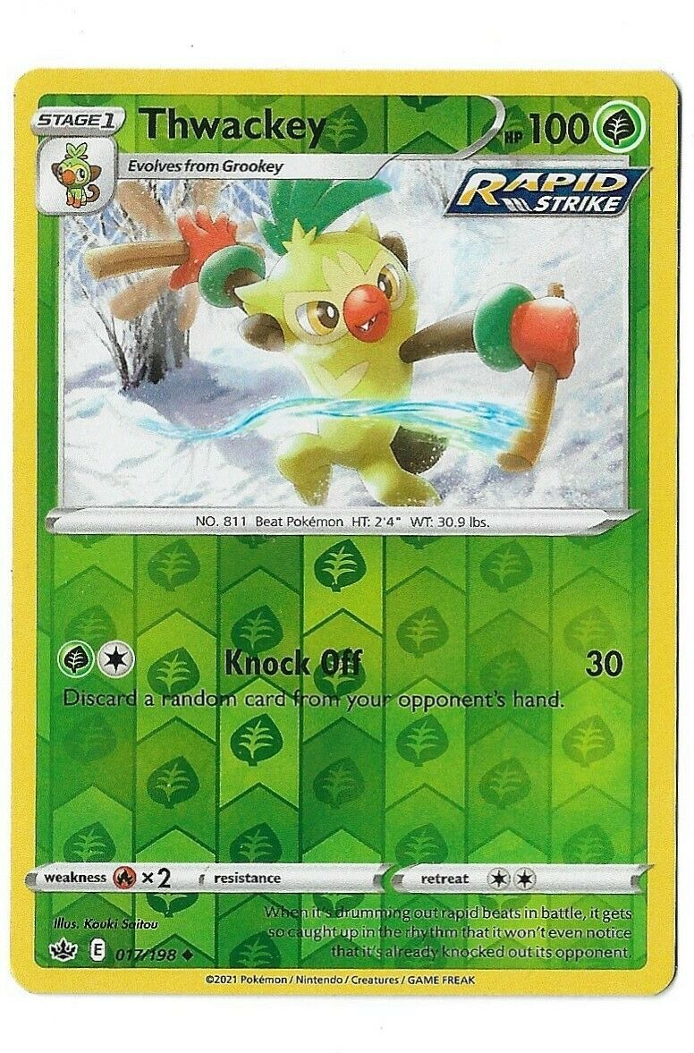 Pokemon Trading card game Chilling reign reverse holo Thwackey 017/198 NM