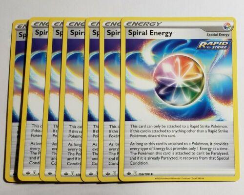 7x Pokemon Spiral Energy 159/198 Full Art Chilling Reign store in Semi Rigid