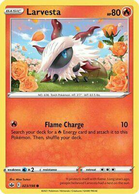 x4 Larvesta - 023/198 - Common - Reverse Holo Pokemon SS06 Chilling Reign M/NM