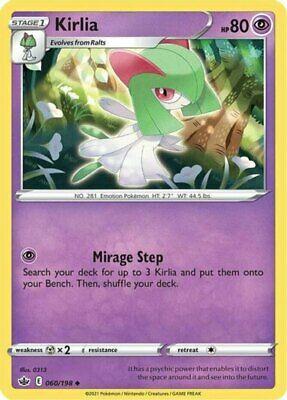 x4 Kirlia - 060/198 - Uncommon - Reverse Holo Pokemon SS06 Chilling Reign M/NM