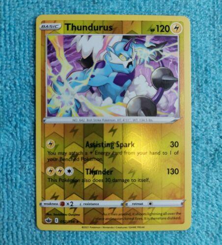 Pokemon Card Thundurus Rare Reverse Holo Chilling Reign 052/198 Pokemon Mint