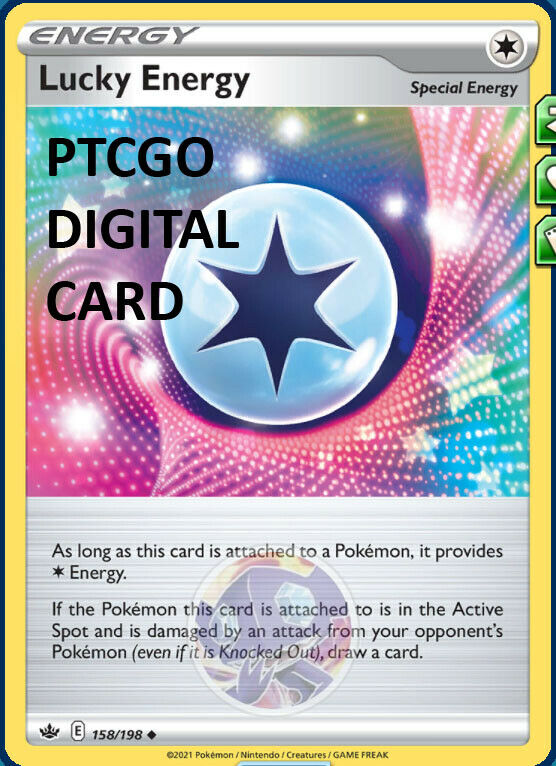 1x Lucky Energy 158/198 PTCGO DIGITAL CARD Chilling Reign Pokemon TCG Online
