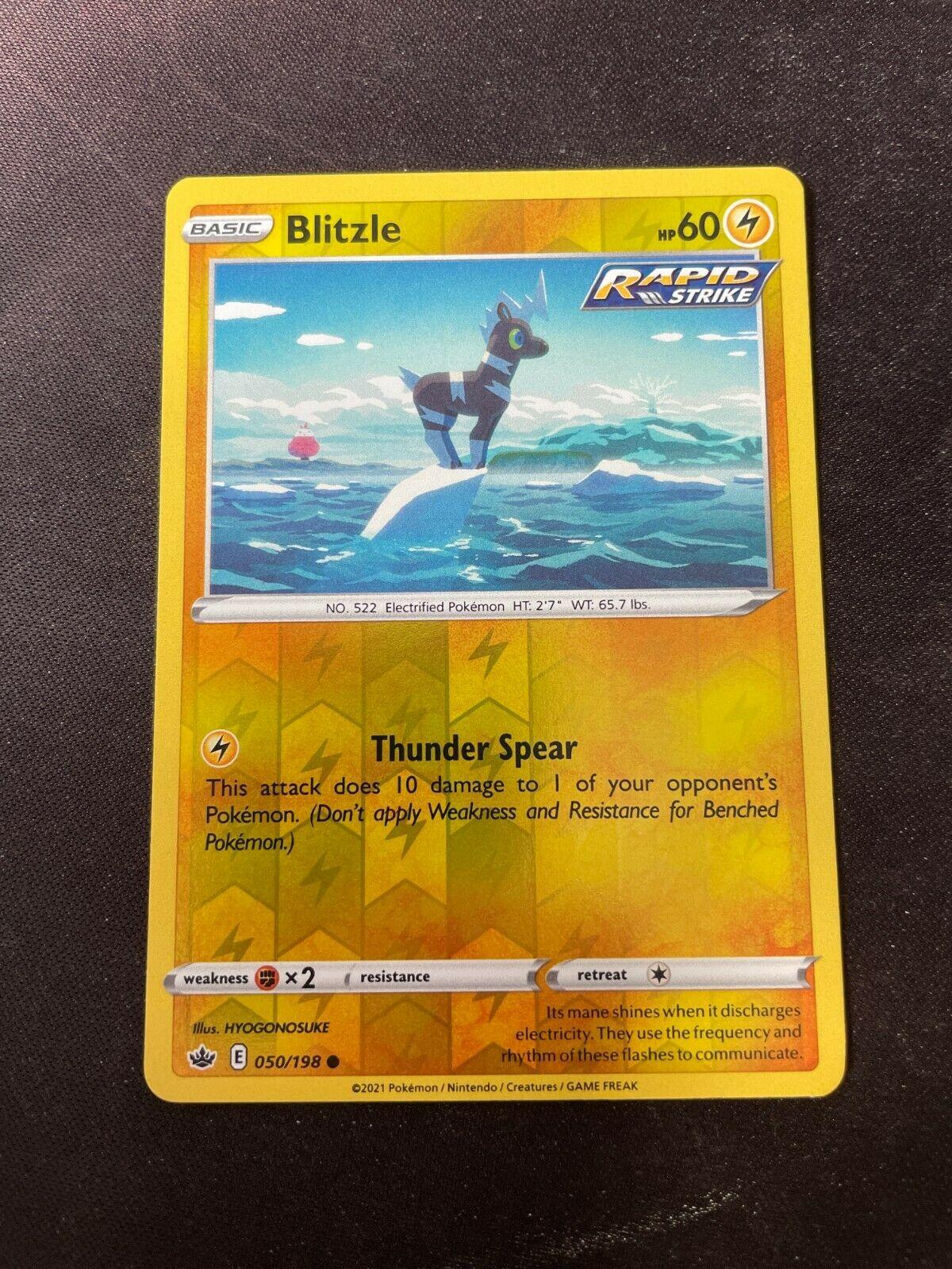 Pokemon TCG Chilling Reign 050/198 Blitzle Card Fresh Reverse Holo Mint Rare