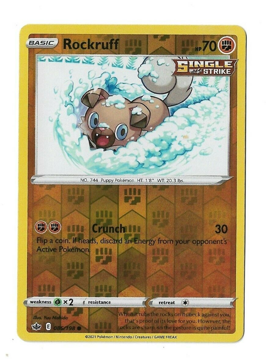 Pokemon TCG Chilling reign reverse holo Rockruff 086/198 NM