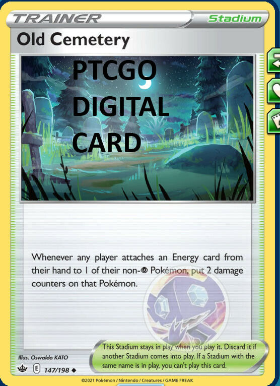 1x Old Cemetery 147/198 PTCGO DIGITAL CARD Chilling Reign Pokemon TCG Online