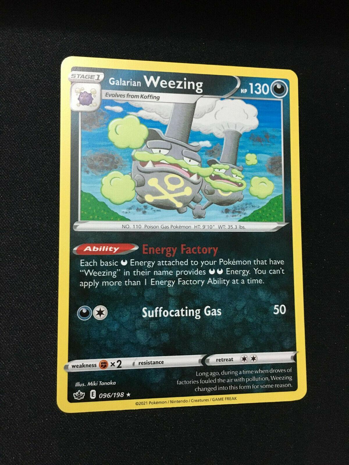 Pokemon TCG Galarian Weezing Rare Card Chilling Reign SWSH06 096/198