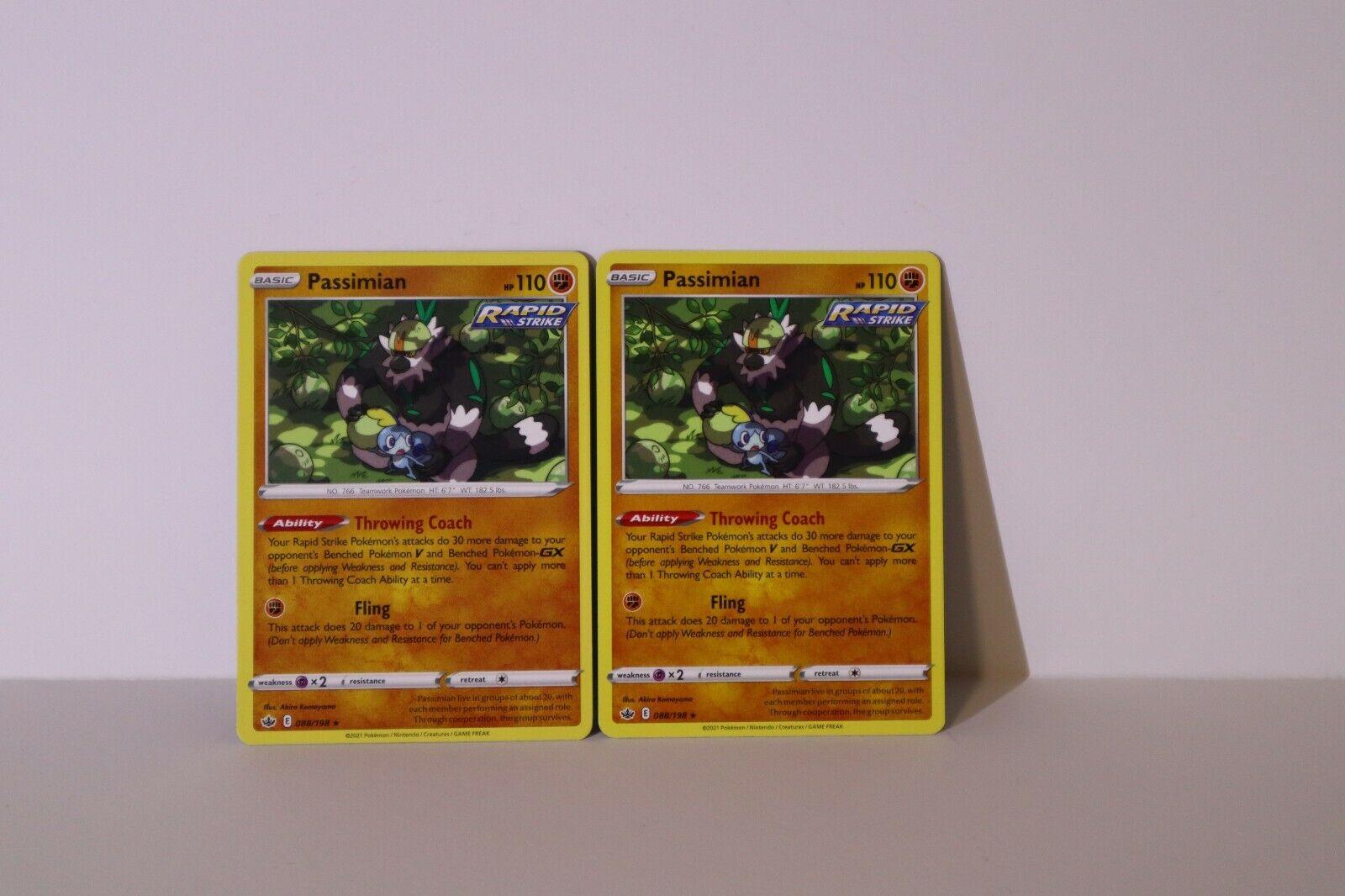 x2 Passimian 088/198 Rare Pokemon TCG Chilling Reign Non Holo NM/M