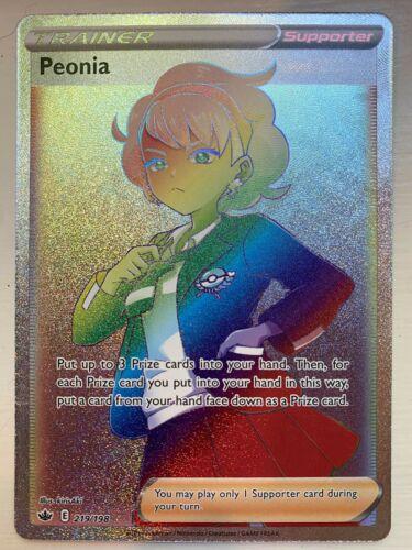 Peonia 219/198 Full Art Secret Rare Chilling Reign Rainbow Rare Pokémon Mint