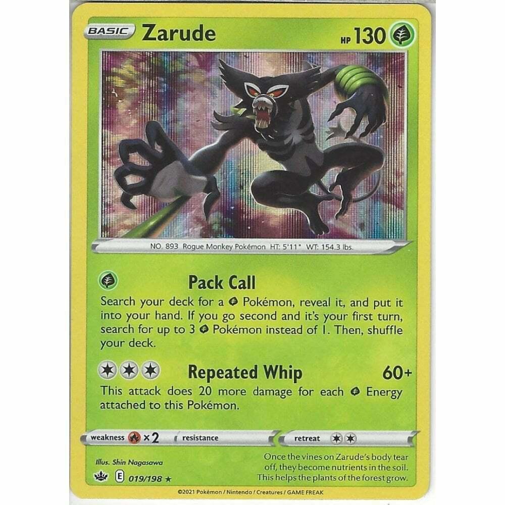 Pokemon Rare Holo Foil Zarude Card 019/198 SWSH Chilling Reign