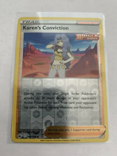 Pokemon Card Chilling Reign Karen's Conviction - 144/198 - Reverse Holo NM/ Mint