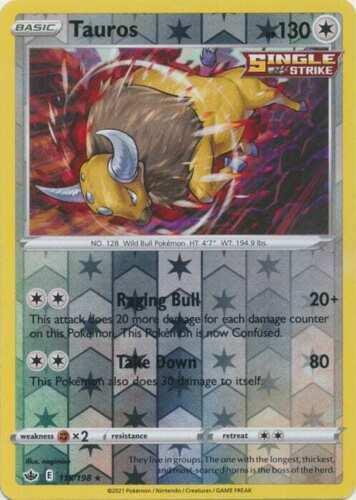 Pokemon - Tauros - 115/198 - Reverse Holo Rare - Chilling Reign - NM/M