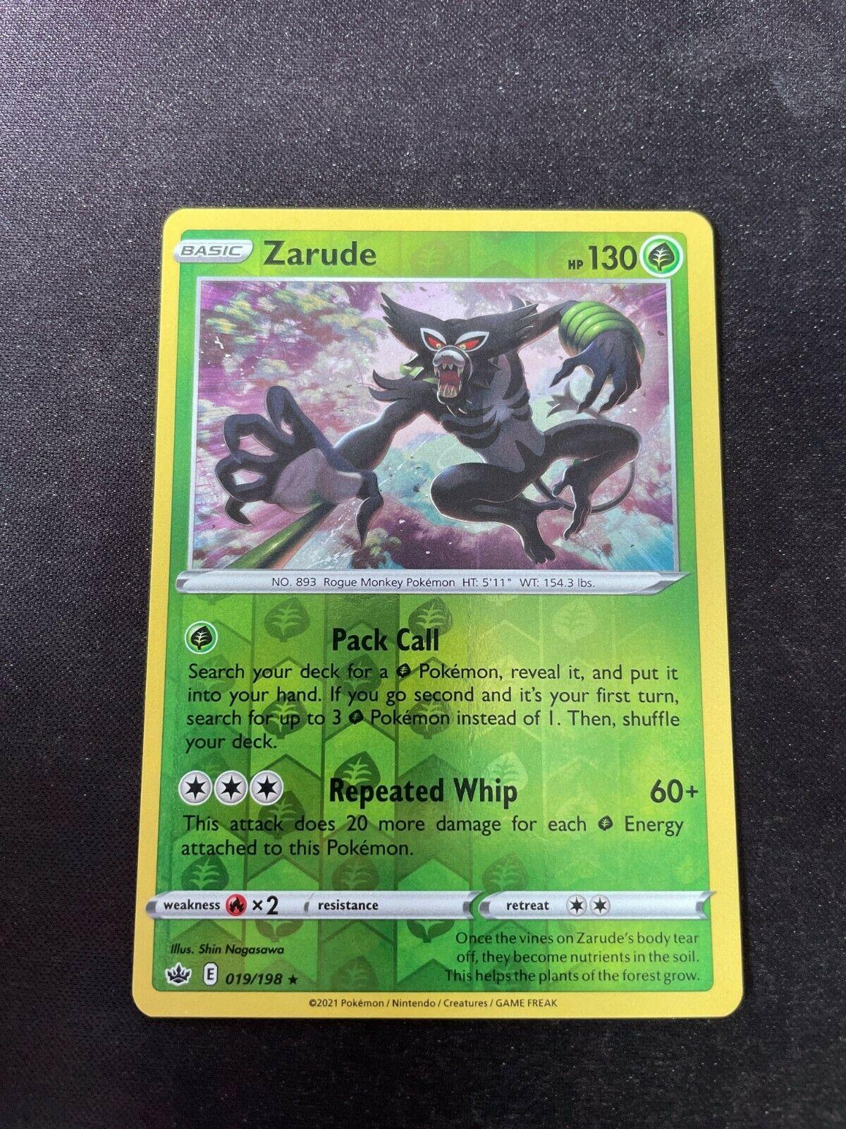 Pokemon TCG Chilling Reign 019/198 Zarude Card Fresh Reverse Holo Mint Rare