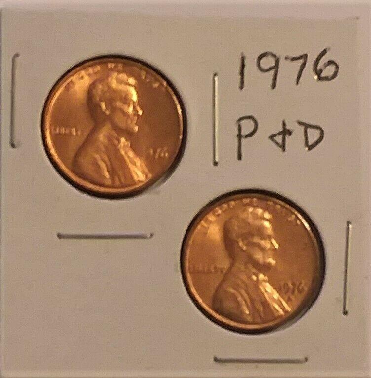 1976 LINCOLN MEMORIAL CENT PENNY (2 COIN SET P & D) UNC - Image 1