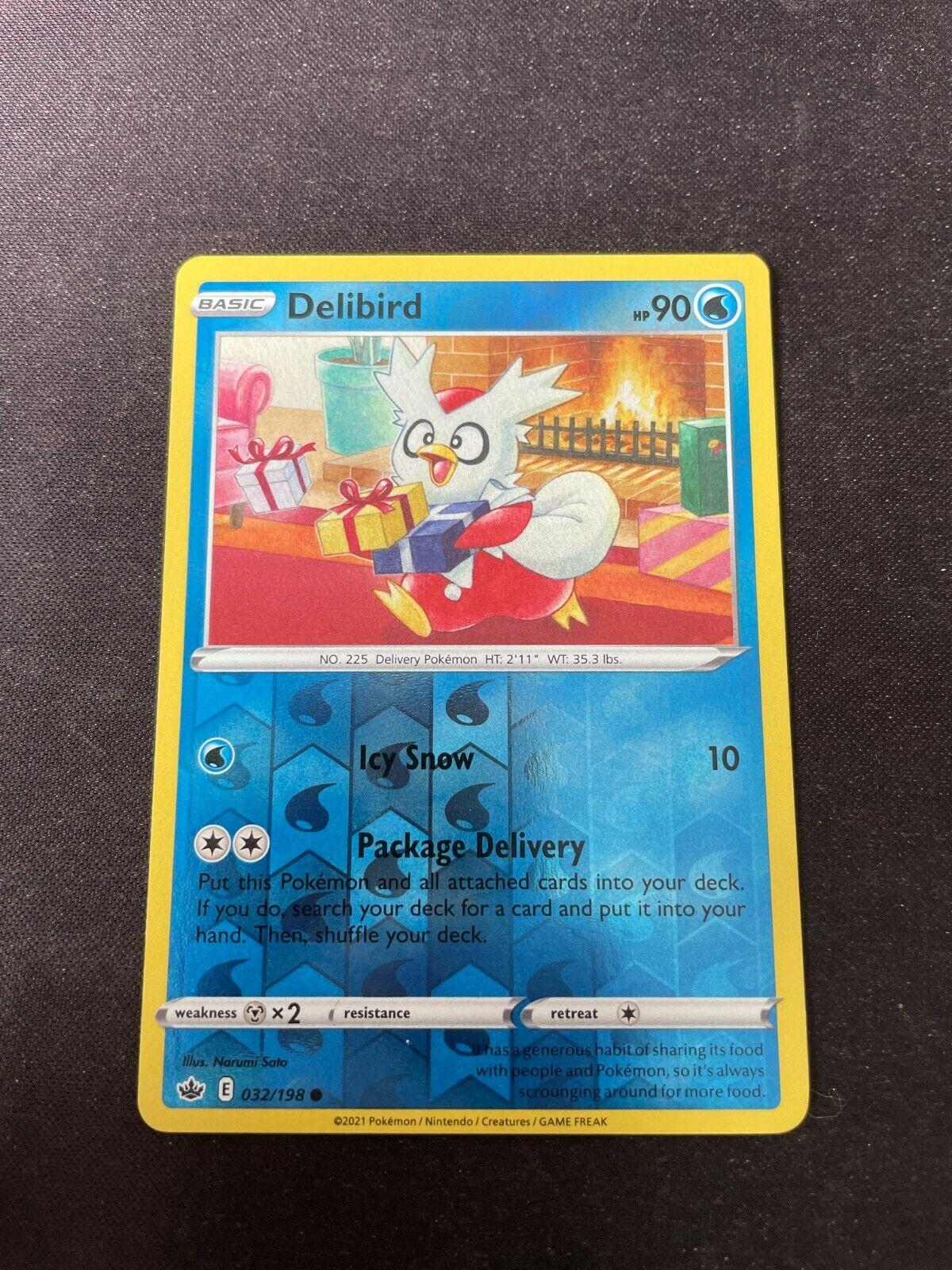 Pokemon TCG Chilling Reign 032/198 Delibird Card Fresh Reverse Holo Mint Rare
