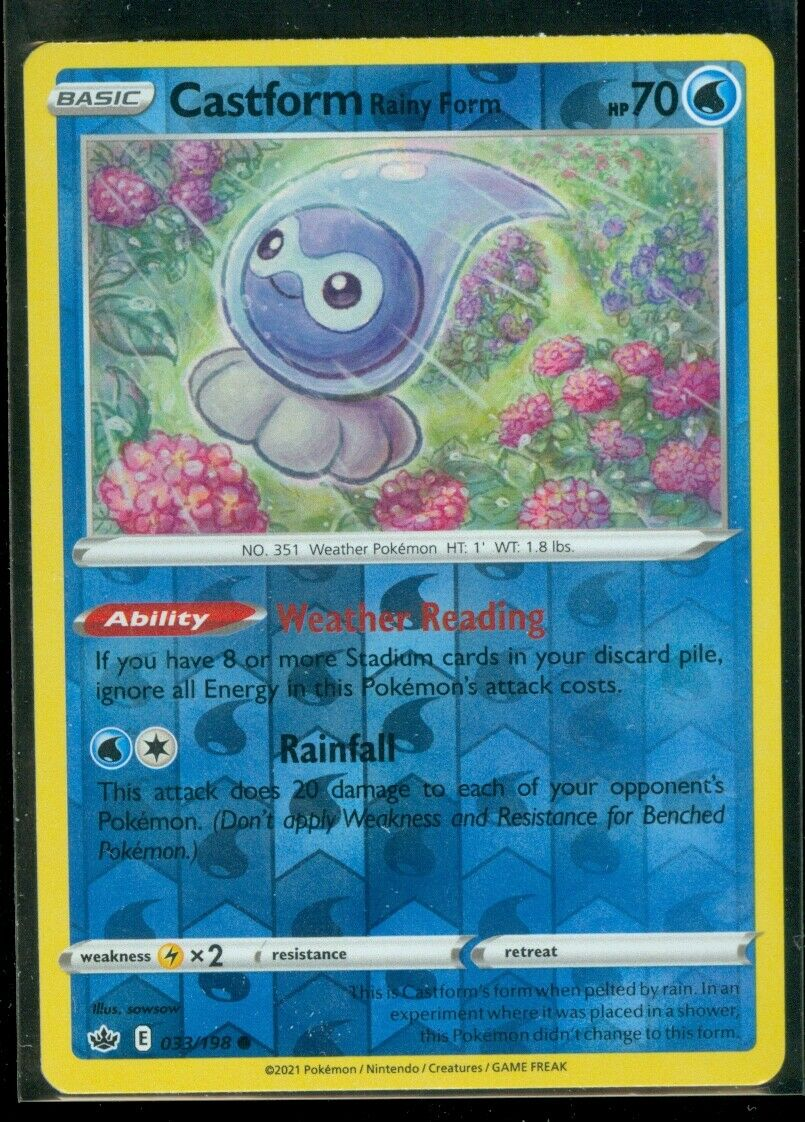 Pokemon CASTFORM RAINY FORM 033/198 Chilling Reign - Rev Holo - - MINT