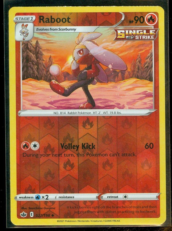 Pokemon RABOOT 027/198 Chilling Reign - Rev Holo - - MINT