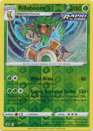 Pokemon - Rillaboom - 018/198 - Reverse Holo Rare - Chilling Reign - NM/M