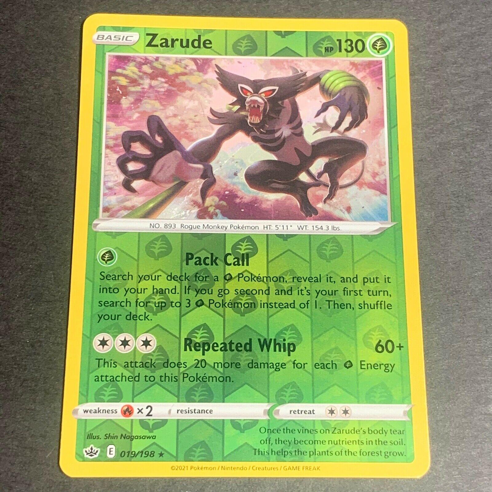 Pokemon S&S Chilling Reign Set REVERSE HOLO (R.) Zarude 019/198 - Near Mint (NM)