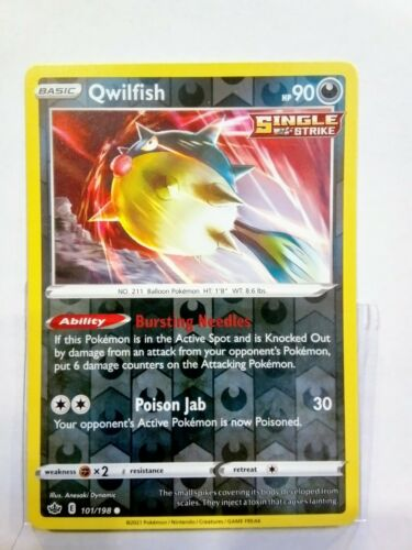 Pokemon Qwilfish 101/198 Single Strike Reverse Holo Mint Chilling Reign Mint