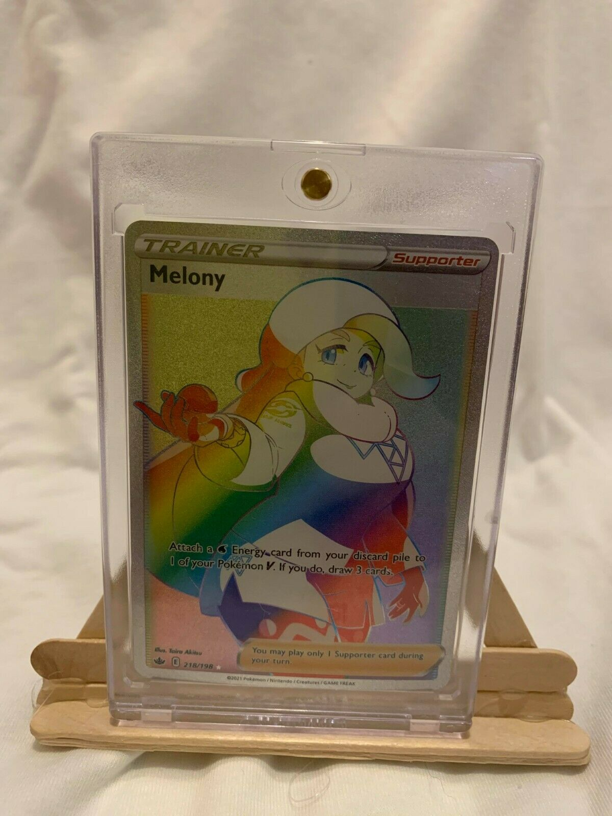 Pokemon-Melony Rainbow Rare Full Art 218/198 Chilling Reign New Release! M/NM