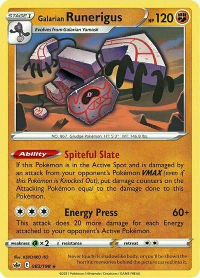 Pokemon - Galarian Runerigus - 083/198 - Holo Rare - Chilling Reign - NM/M