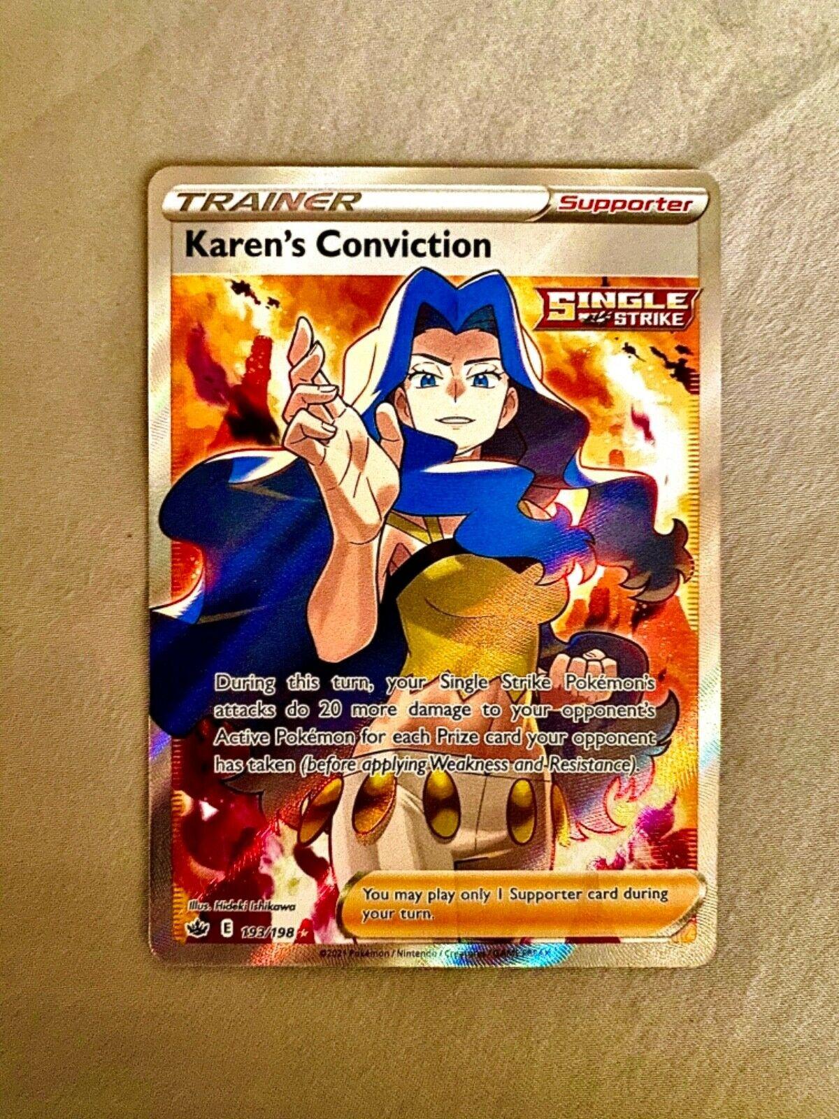 Pokémon Chilling Reign Karen's Conviction Full Art Trainer 193/198 - NM - Fresh