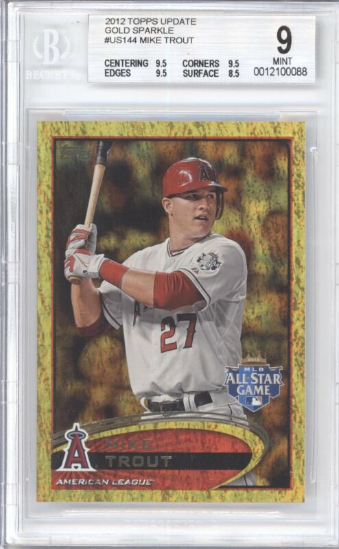 MIKE TROUT BGS 9 2012 TOPPS UPDATE BASEBALL #US144 ALL STAR GOLD SPARKLE ANGELS - Image 1