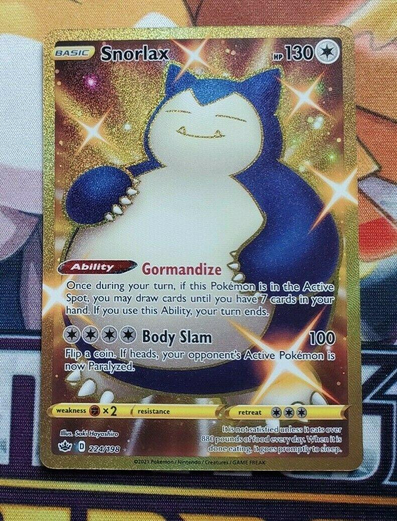 Shiny Snorlax 224/198 Chilling Reign Gold Secret Rare Pokemon Card Near Mint