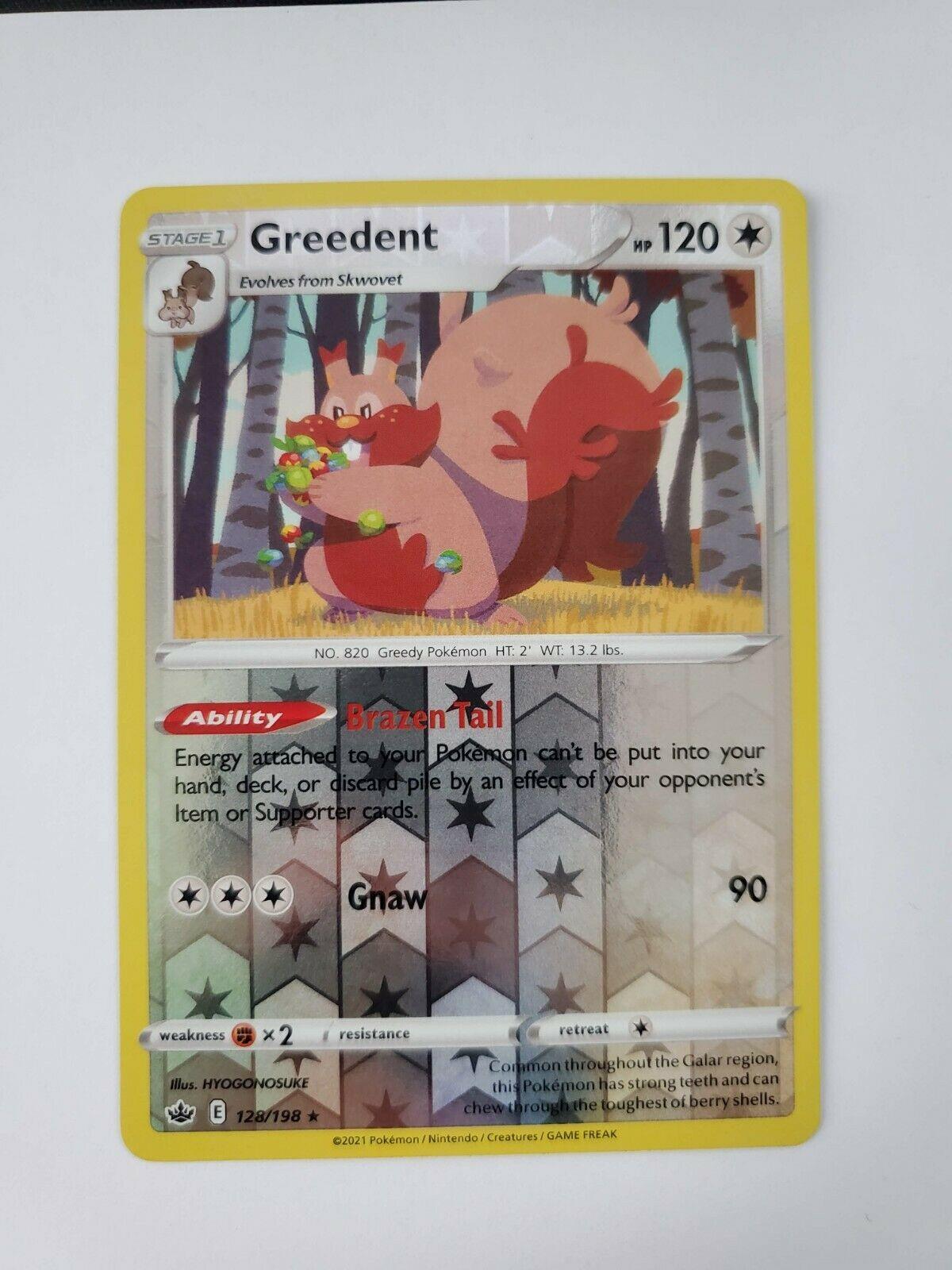 Pokemon Chilling Reign Greedent 128/198 Reverse Holo Rare Card