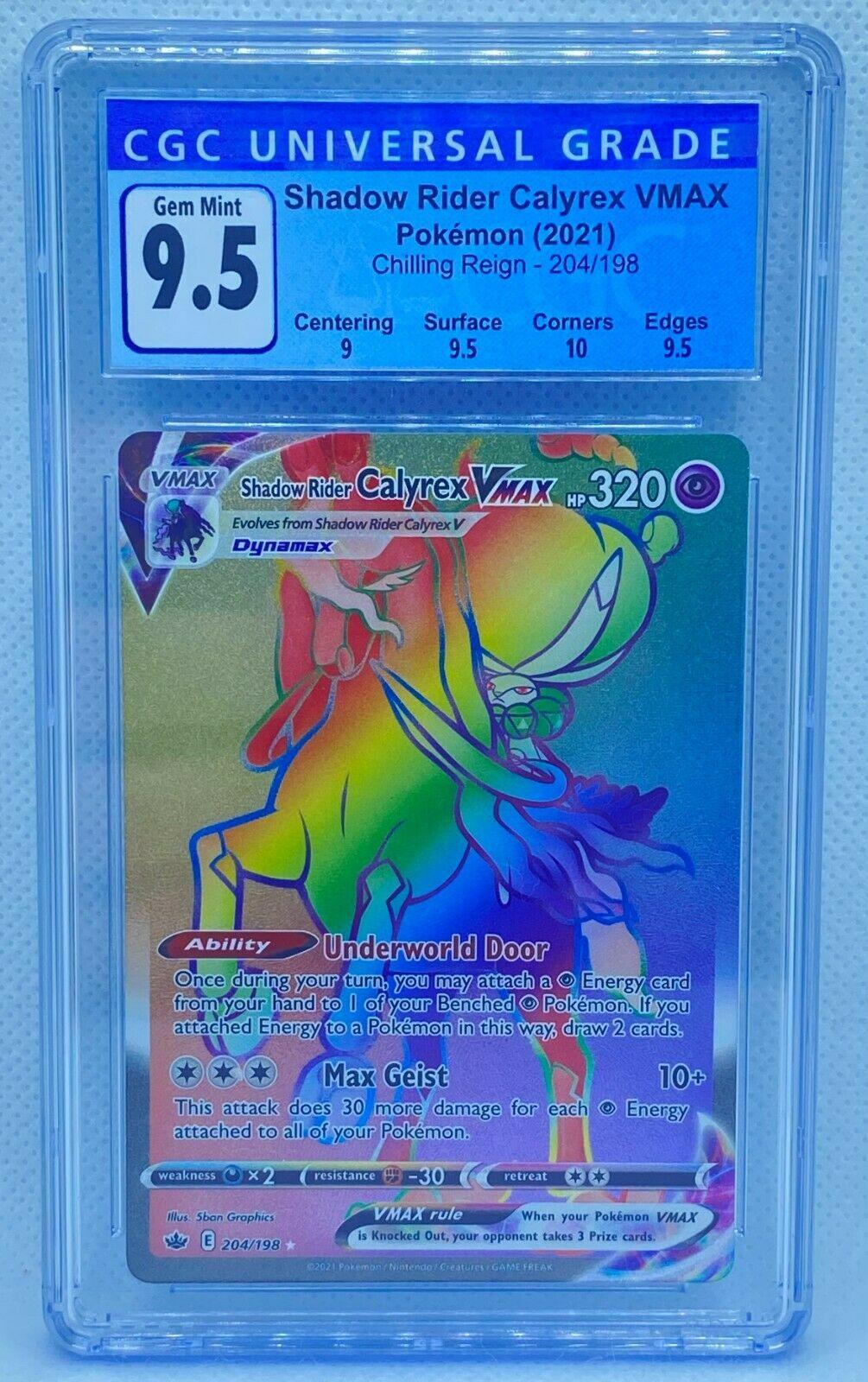 Pokémon TCG Shadow Rider Calyrex VMAX 204/198   Chilling Reign   CGC 9.5   PSA