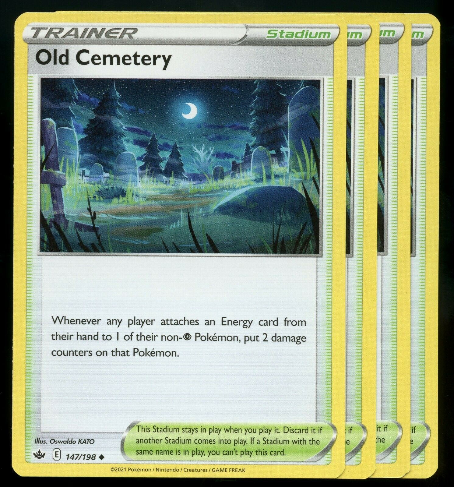 Pokemon Cards x4 Old Cemetery 147/198 Chilling Reign Playset NM