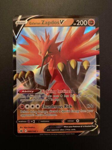 Galarian Zapdos V 080/198 Ultra Rare Pokemon Card Chilling Reign MINT