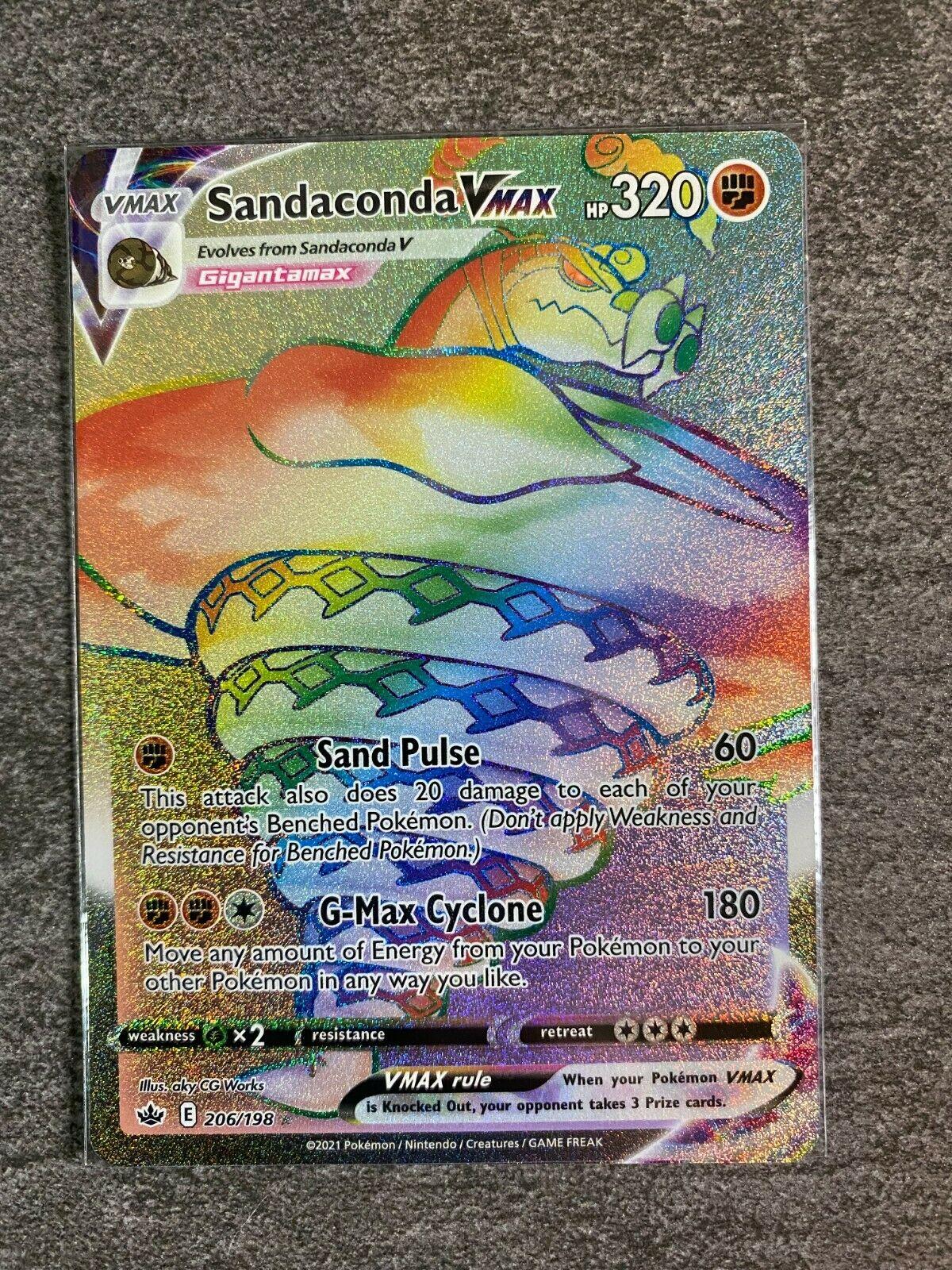Sandaconda VMAX Rainbow Holo Chilling Reign - Secret Rare 206/198 MINT Fresh