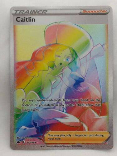 Rare Rainbow Caitlin Trainer Pokemon Chilling Reign Card 213/198 Mint Condition