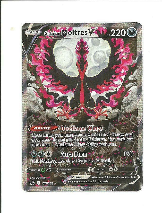 POKEMON CHILLING REIGN Galarian Moltres V Full Art 177/198 ALTERNATE ART