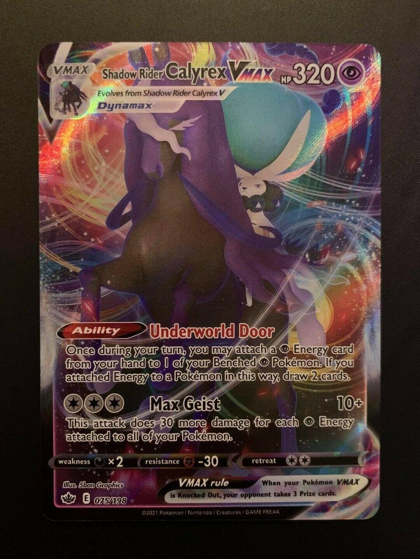 Shadow Rider Calyrex VMAX 075/198 Full Art Pokemon Card Chilling Reign MINT