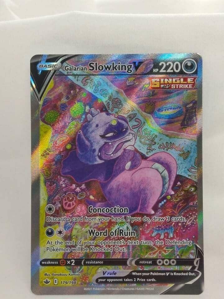 Full Art RARE Galarian Slowking V Pokemon Chilling Reign Card 179/198